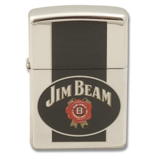 zippo jim beam black label lighter with high polish chrome fin