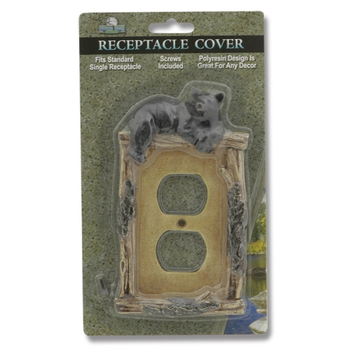 Rivers Edge Black Bear Plugin Receptacle Cover
