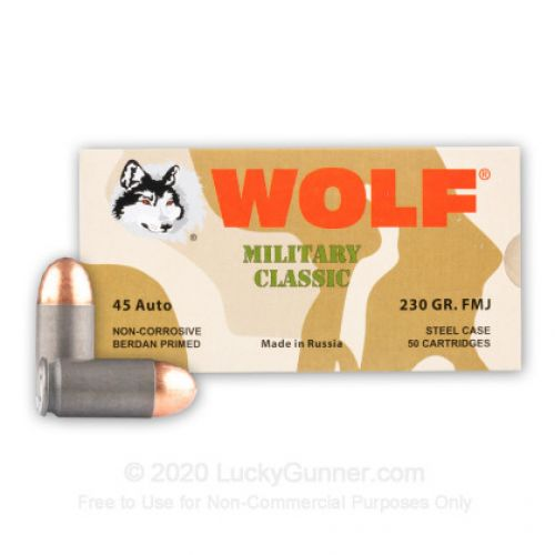 Wolf 45FMJ Military Classic .45 ACP 230 GR Full Metal Jacket 50 Bx