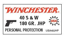 Winchester 40 Smith & Wesson 180 Grain Jacketed Hollow Point