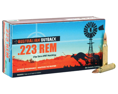 outback ammunition 223 remington 69 grain sierra matchking boattail