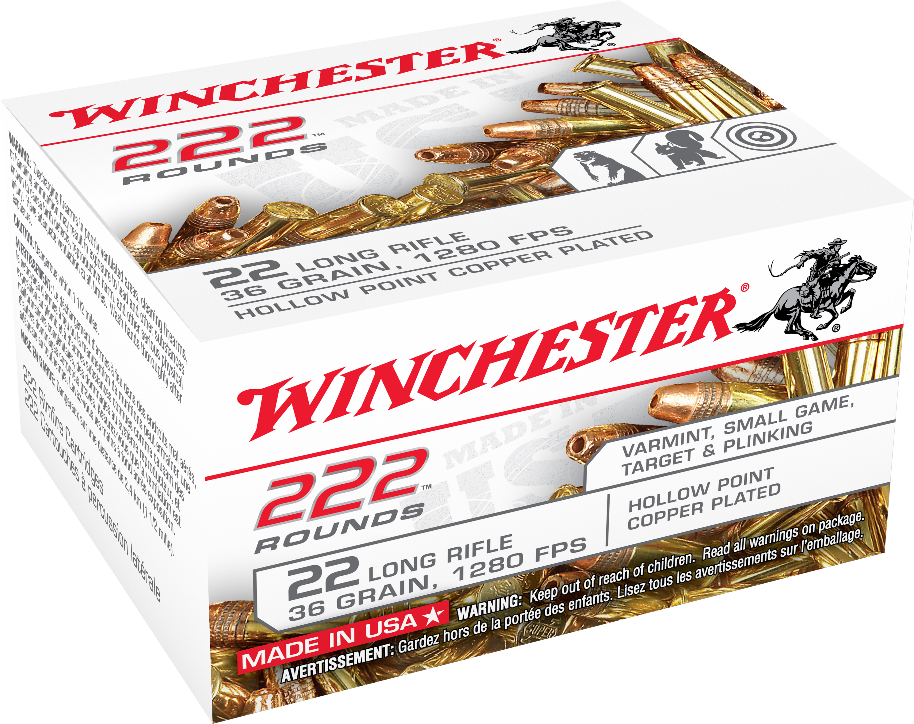 Winchester 22LR222HP 222 Round .22 LR  Copper-plated H