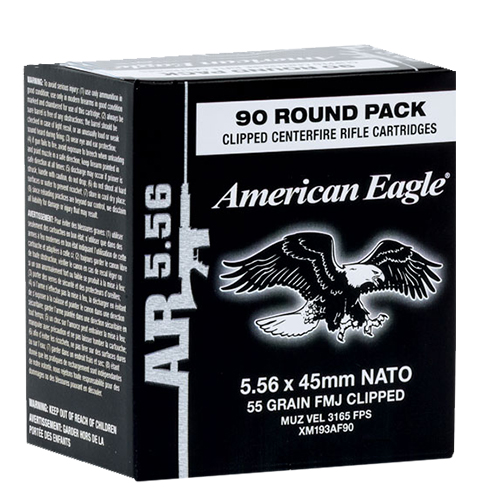Federal XM193AF90 American Eagle 5.56 Nato Clipped FMJ 55 GR