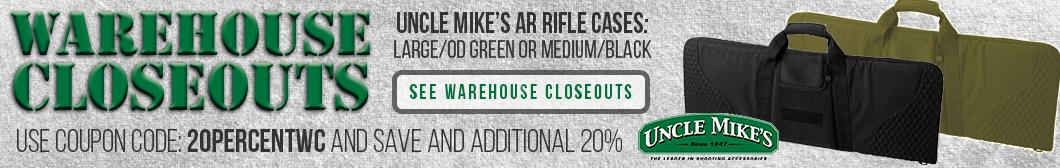 Uncle Mikes AR15 Rifle Cases, accessories and apparel - Warehouse Closeouts at Buds - SAVE 20% with coupon code 20PERCENTWC!