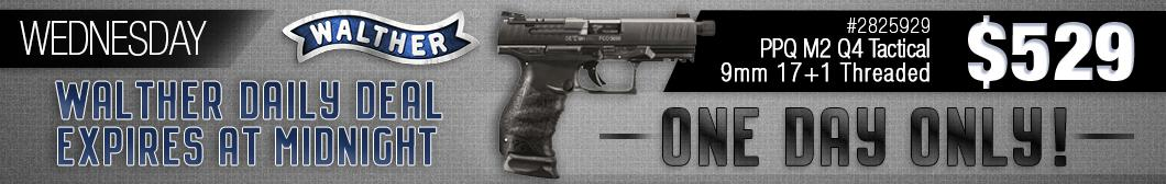 BudsGunShop.com Walther Week Daily Deal! Get the Walther PPQ M2 Q4 Tactical 9mm 17+1 Threaded Barrel model 2825929 for ONLY $529 with FREE Shipping!