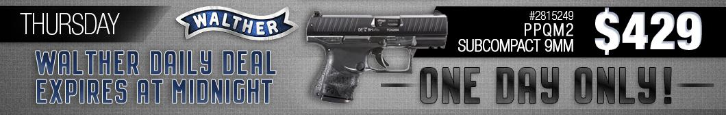 BudsGunShop.com Walther Week Daily Deal! Get the Walther PPQ M2 Subcompact 9mm model 2815249 for only $429 with FREE Shipping!