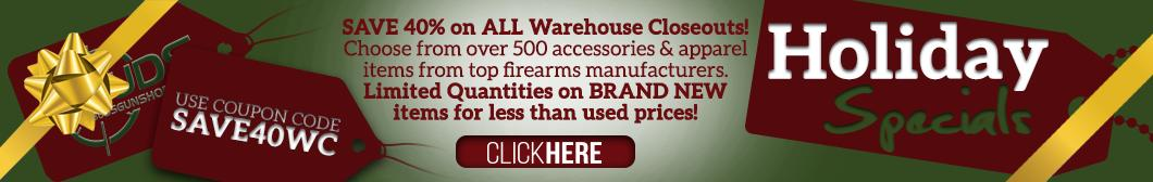 Save 40% off warehouse closeout accessories and apparel
