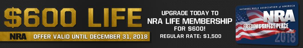 $600 NRA Life Membership. Regularly $1500. Upgrade today to an NRA Live Membership and Save $900. Offer valid until December 31, 2018 through BudsGunShop.com
