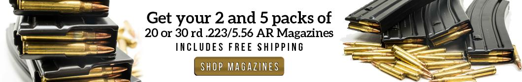 2 and 5 packs of 20 and 30 round AR15 Magazines with FREE Shipping for as low as $22
