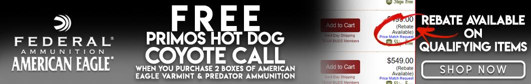 Federal Ammunition Rebate - Free Coyote Call with purchase of 2 boxes of Eagle Varmint & Predator Ammunition