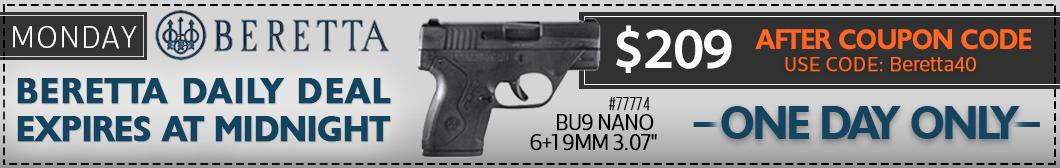 Get the Beretta Nano during Beretta Week at BudsGunShop.com for only $209 after $40 coupon!