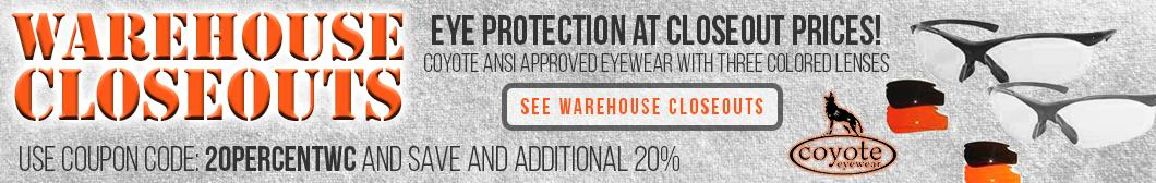 Eye protection at closeout prices from BudsGunShop.com. Coyote ANSI Approved Eyewear with three colored lenses. Save an additional 20% with coupon code 20PERCENTWC