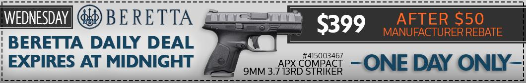 Buy Now! Daily Deal, the Beretta APX Compact model JAXC921 for only $399 after $50 manufacturer rebate during Beretta Week at BudsGunShop.com!