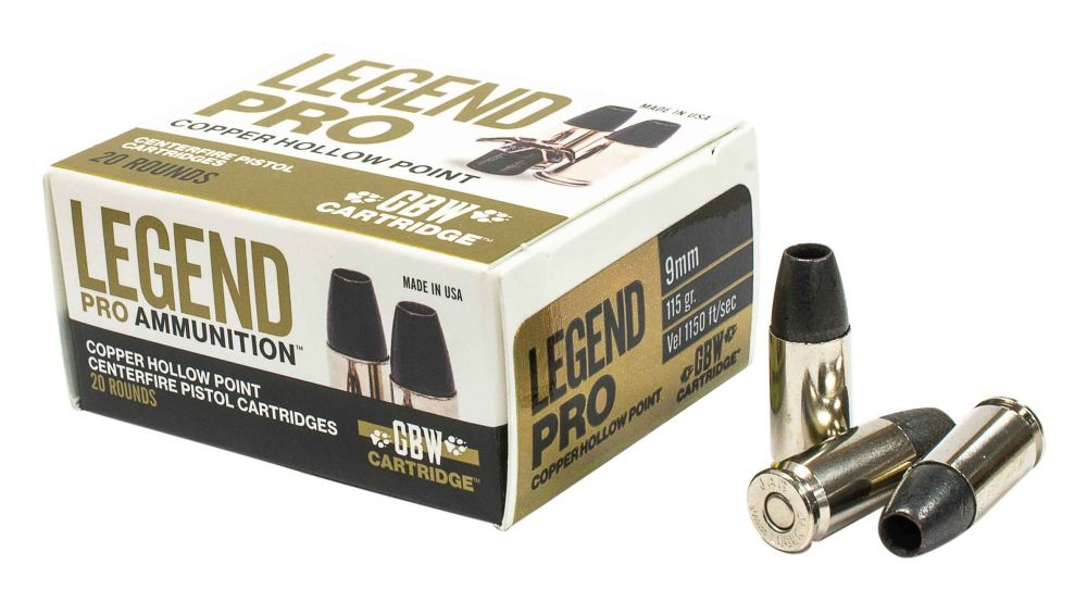 Legend AMMO 9MM 115GR Solid Copper Hollow Point 20 rounds