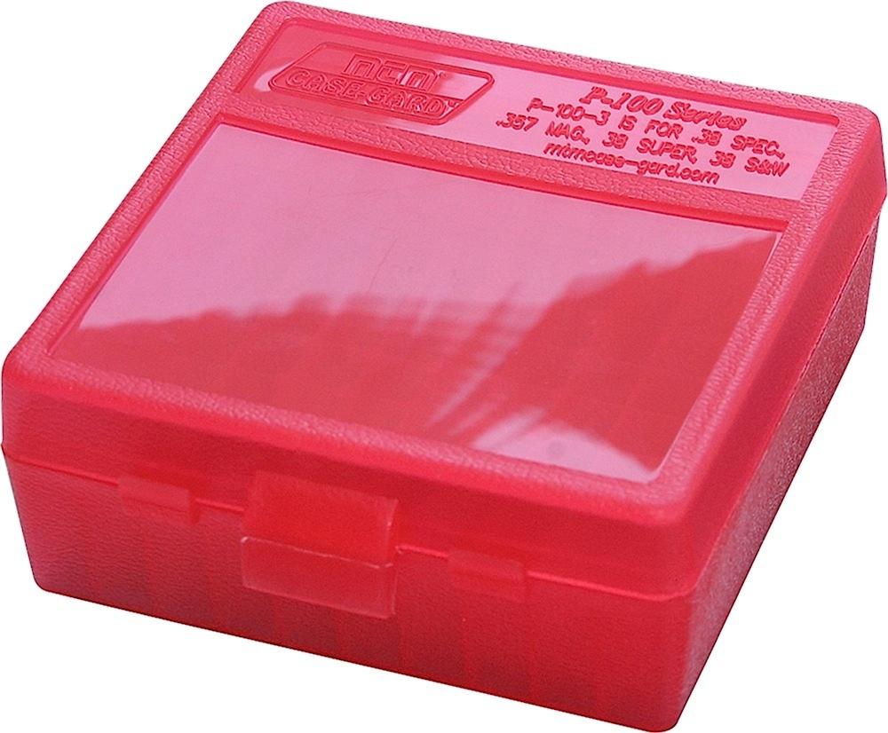 P-100 Fliptop Box  45 ACP/10mm/ 40 S&W/ 41 AE Clear Red