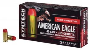 Federal AE40SJ1200 American Eagle Syntech 40 S&W 165 GR Total Syntech jacket Flat Nose (TSJFN) 200 Bx/ 5 Cs