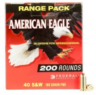 Federal AE40R1200 American Eagle 40 S&W 180 GR Full Metal Jacket (FMJ) 200 Bx/ 5 Cs