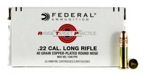 Federal RTP2240 Range and Target 22 LR 40 GR Copper-Plated Round Nose 50 Bx/ 100 Cs - RTP2240