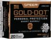 Speer Ammo 9mm Gold Dot Personal Protection Luger +P 124 GR Hollow Point Short Barrel 20 Bx/ 10 Cs - 204