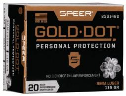 Speer Ammo 23614GD Gold Dot Personal Protection 9mm 115 GR Hollow Point 20 Bx/ 10 Cs
