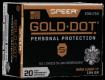 Speer Ammo 23617GD Gold Dot Personal Protection 9mm+P 124 GR Hollow Point 20 Bx/ 10 Cs