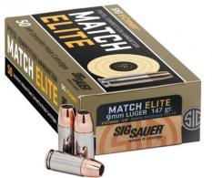 Sig Sauer Elite Match 9mm 147 GR Jacketed Hollow Point 50 Bx/ 20 Cs