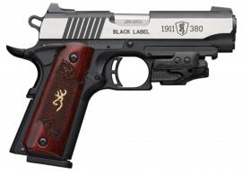 Browning 051953492 1911-380 Black Label Medallion 380 ACP Single 3 5/8 8+1 Rosewood w/Gold Buckmark Inlay Grip Black Composite  - 051953492