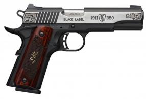 Browning 051957492 1911-380 Black Label Medallion .380 ACP Single 3 5/8 8+1 Rosewood w/Gold Buckmark Inlay Grip Black Composite  - 051957492