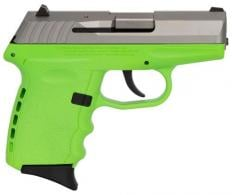 "SCCY Industries CPX2TTLG CPX-2 Carbon 9mm 3.10"" 10+1 Stainless Steel Slide Lime Polymer Grip No Manual Safety - CPX2TTLG"