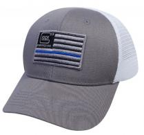 Glock Blue Line Hat with Flag Gray/White Cotton/Mesh Snapback - AS10071