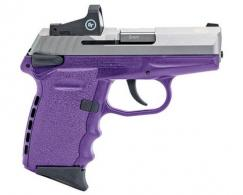 "SCCY Semi-Auto Pistol, 9MM, 3.1"" Bbl, Two-Tone, SS, Purple, Crimson Trace Red Dot Sight, Manual Safety, 1 - CPX1TTPURD"