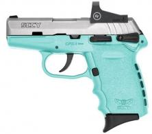 "SCCY Semi-Auto Pistol, 9MM, 3.1"" Bbl, Two-Tone, SS, Sky blue, Crimson Trace Red Dot Sight, Manual Safety, - CPX1TTSBRD"