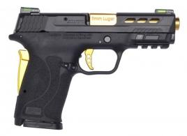 "Smith & Wesson 13228 M&P 9 Shield EZ Performance Center 9mm Luger 3.83"" 8+1 Matte Black Black Polymer Grip No Thumb Safety Gold  - 13228"