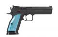"CZ-USA Thumb Safety 2 9mm 5.28"" 20+1 Black Blue Aluminum w/Aggressive Checkering Grip Fixed Sight - 91220"