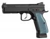 "CZ-USA Shadow 2 Optics-Ready 9mm 4.89"" 19+1 Black Black Steel Slide Blue Aluminum Grip - 91251"