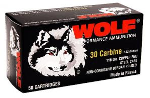 Wolf 30 Carbine 110 Grain Copper Full Metal Jacket - 30CARFMJ