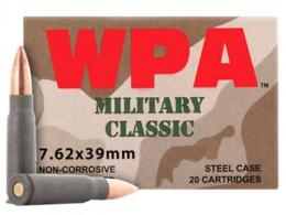 Wolf MC762BFMJ Military Classic Steel Case 7.62X39mm 124 GR FMJ 20Box