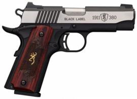 Browning 051913492 1911-380 Single 380 ACP 3.62 8+1 Rosewood w/Gold Buckmark I - 051913492
