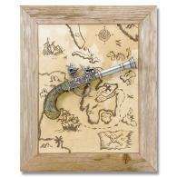 Framed Pirate Treasure Map & Flintlock Set - CRL27301