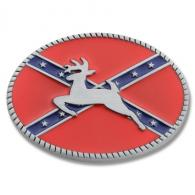 Buckle Shack™ Jumping Deer Confederate Flag Belt Buckle - BS1048
