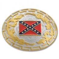 Buckle Shack™ Gold and Silver Two Tone Confederate Flag Bel - BS1115