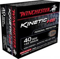 Winchester Ammo HE40JHP Kinetic High Energy 40 Smith & Wesson 155 GR Jacketed H - HE40JHP