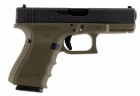 Glock PG1957203MOS G19 Double 9mm Luger 4.01 15+1 OD Green Grip Black - PG1957203MOS