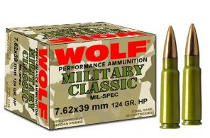 Wolf 7.62MM x 39MM 124 Grain Soft Point Bi Metal - CASE - 762BSP