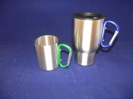 Pair Stainless Steel Carabiner Mugs - Carabiner Mug Pair