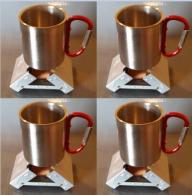 4 Bleuet Pocket Stoves and 4 Stainless Carabiner Mugs - combo4pk