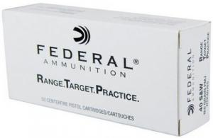 Federal Range Target Practice Handgun Ammunition RTP40165, 40 S&W, Full Metal Jacket, 165 Gr, 1130 fps, 50 Rd/bx