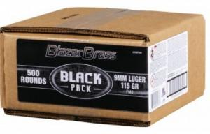 Blazer Brass Black Pack 9mm 115 Grain FMJ 500 Rounds - 5200BF500
