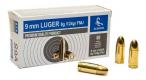 Scorpio Ammo 9mm 124gr FMJ 50ct brass