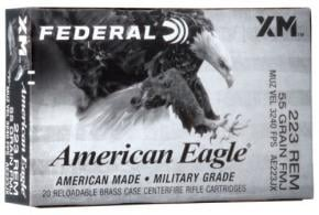 Federal .223 Remington 55gr FMJ-BT 20rd box - AE223JX